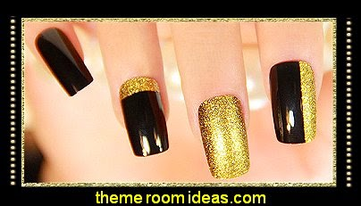 black gold glitter nail design ideas - gold black glitter nail art
