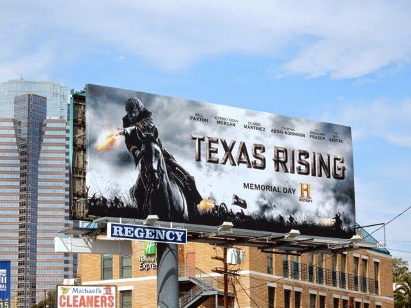 Texas Rising horseback billboard