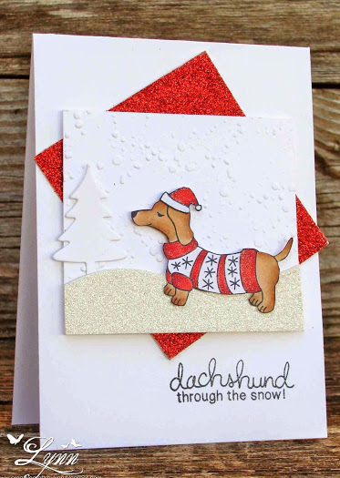 Dachshund through the snow doxie in Sweater card by Lynn using Newton's Nook Designs Stamps
