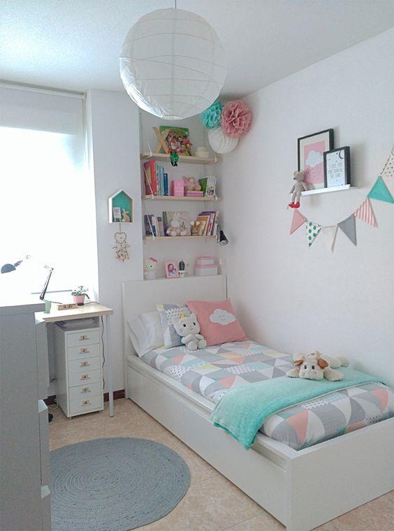 quarto para menina tons pasteis estilo escandinavo