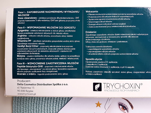trychoxin - kuracja przeciw wypadaniu włosów - kuracja trychologiczna - szampon przeciw wypadaniu włosów - ampułki przeciw wypadaniu włosów - delia cosmetics - wypadanie włosów - łysienie