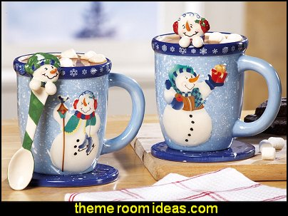 Snowman Holiday Mug and Spoon Gift Set