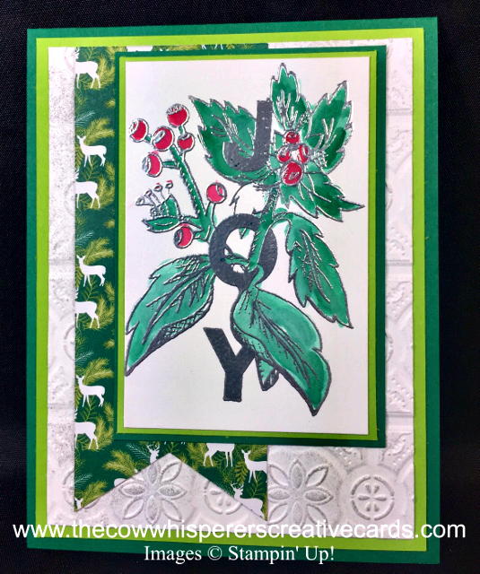 Card, Joy & Noel, Under the Mistletoe Designer Series Paper, Heat Embossing, Watercolor