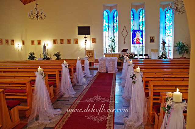 Różowa ślubna dekoracja kościoła w Mosznej opolskie