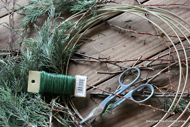 wreath DIY, Christmas decor, Christmas ideas, wire cutters, branches, http://bec4-beyondthepicketfence.blogspot.com/2015/12/12-days-of-christmas-day-11-how-to-make.html