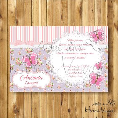 convite digital aniversário infantil personalizado jardim encantado floral lilás e rosa borboletas menina delicado