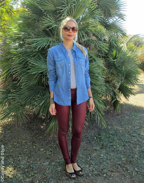 DenimShirt, BurgundyLeggings, LeopardFlats, CrossbodyBag - Lilli Candy and Style Fashion Blog
