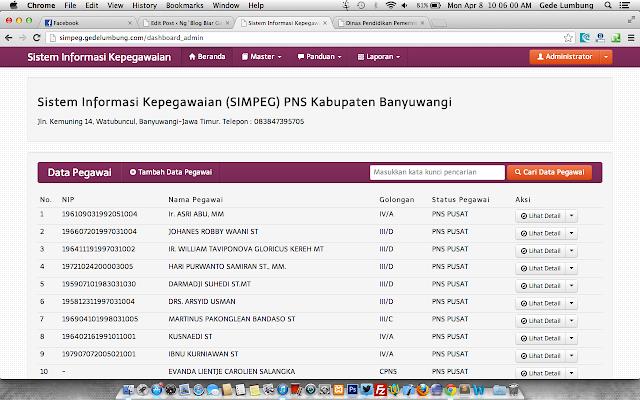 Sistem Informasi Management mySIMPEG dengan PHP dan MySQL Gratis