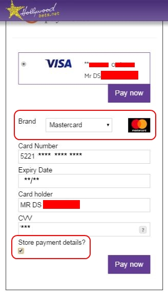 MasterCard Details - Peach Payments Method - Hollywoodbets