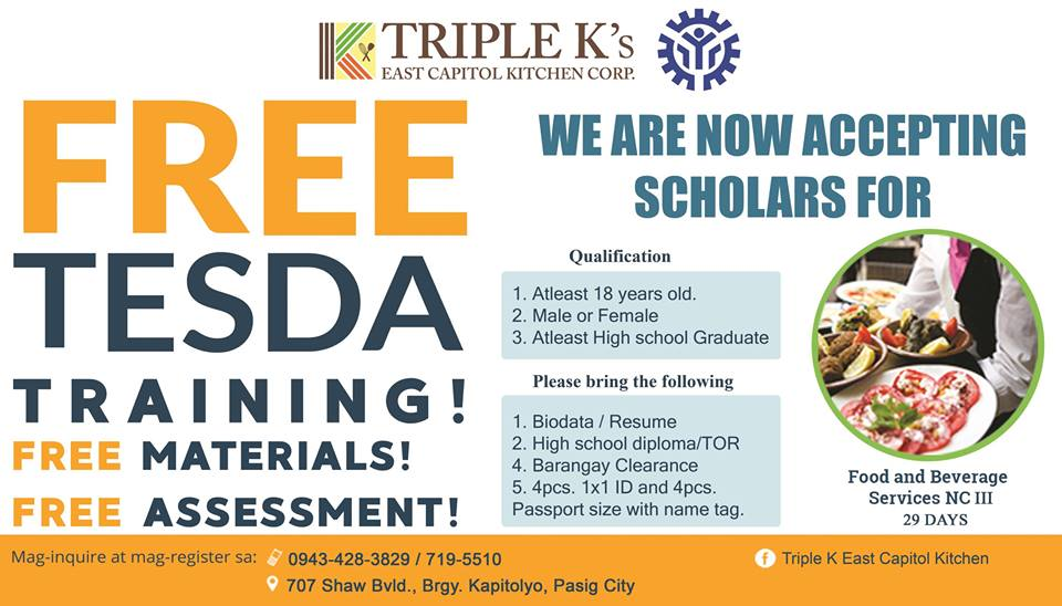 4 TESDA Course Offered by Triple K's East Capitol Kitchen (2019 FREE TRAINING)
