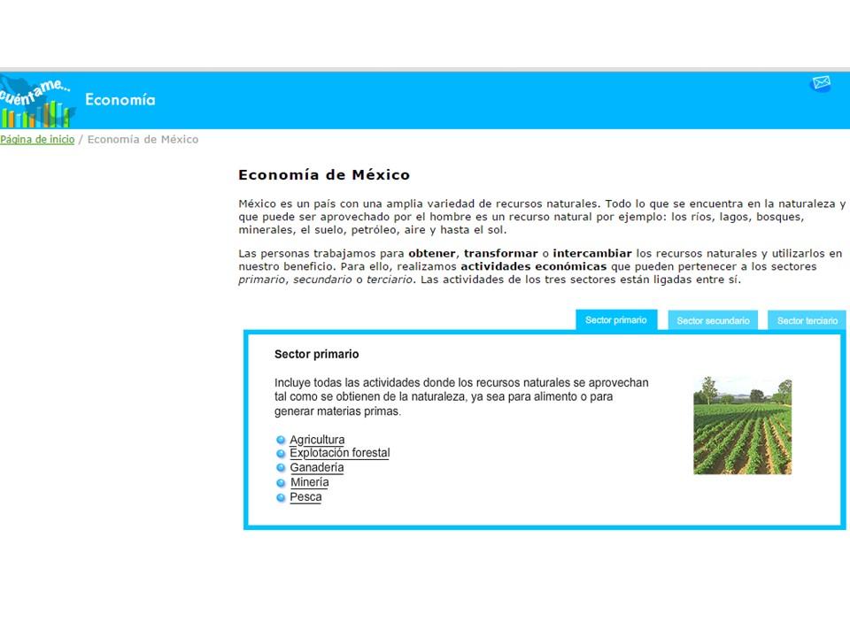 Cuarto grado de Primaria: Actividades económicas de México. Primaria.