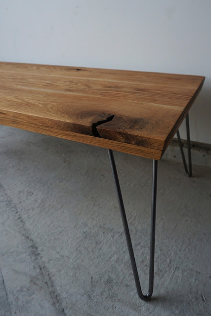 Rustic oak coffee table with hairpin legs