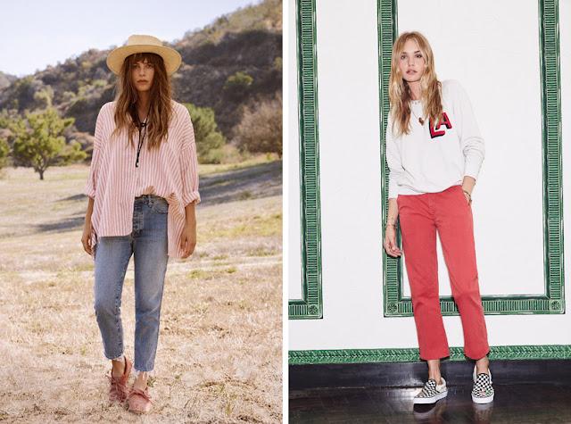 Девушки в свободных прямых джинсах