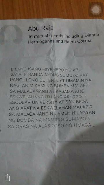 BOMB THREAT: Terrors 4 campus near Malacañang!