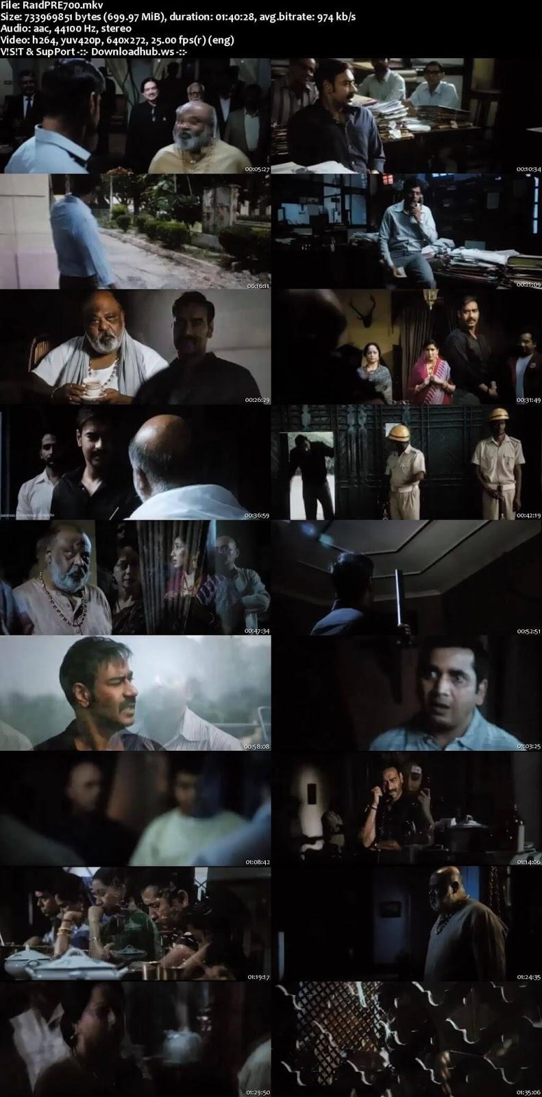 Raid 2018 Hindi 700MB Pre-DVDRip x264