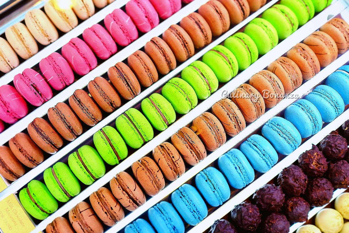 Assorted macarons and pralines