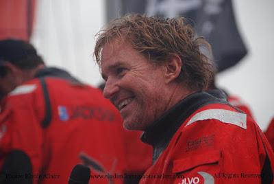 Ken Read, skipper de Puma sur la Volvo Ocean Race 2012, à son arrivée à Lorient.