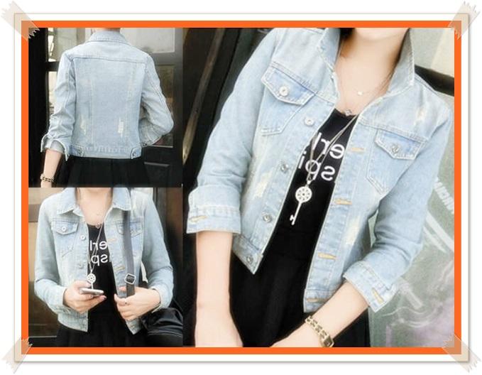 contoh jaket jeans wanita ukuran besar