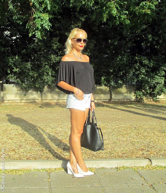 OffTheShoulderTop+DenimShorts+WhiteWedges+ToteBag+BeachWaves+RedLips - Lilli Candy and Style Fashion Blog