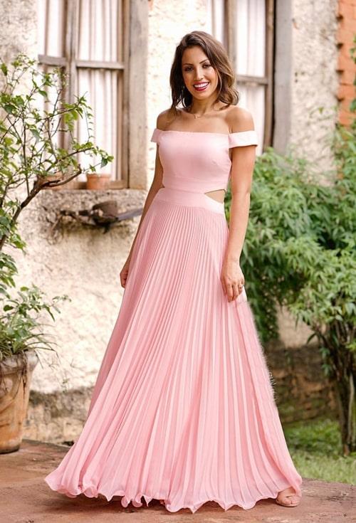 vestido de festa longo rose para madrinha de casamento