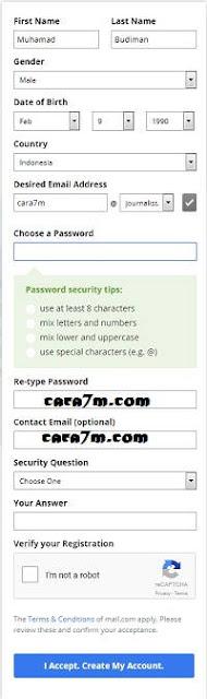 Formulir Pendaftaran Akun Email Gratis Mail.com