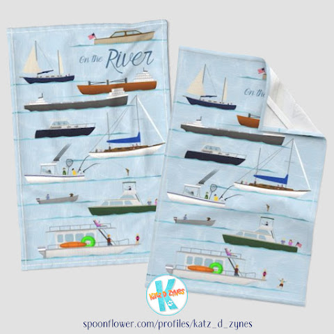 On the river nautical coastal folk art tea towel