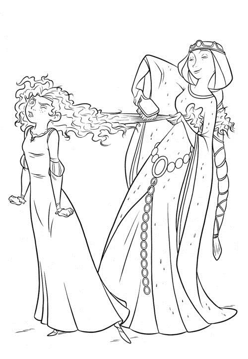 Queen Elionor combing Merida Brave Movie coloring and