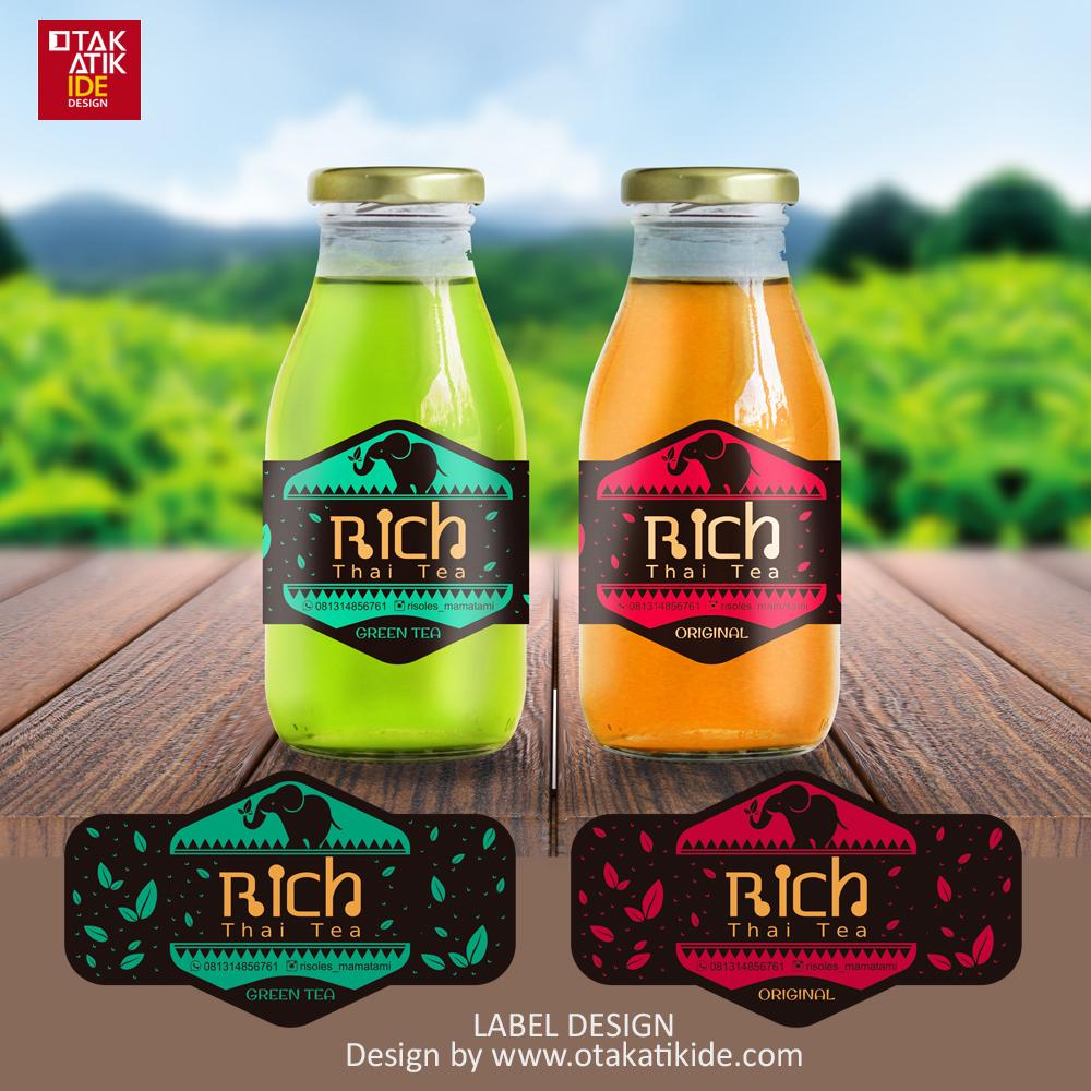Jasa Desain Label Botol Produk Minuman Thai Teajasa Desain