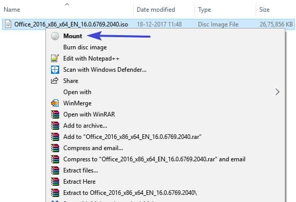 mount ISO file using File Explorer