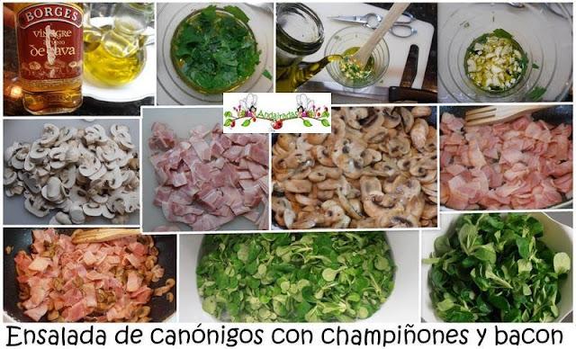 Ensalada de canónigos,champiñones y bacon