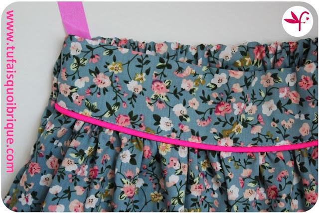Jupe Poulette - Vintage et rose fluo - Détail ceinture