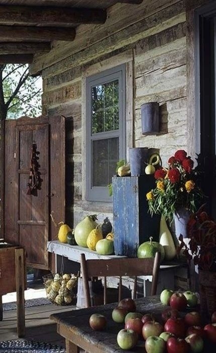 rustic log cabin porch autumn fall