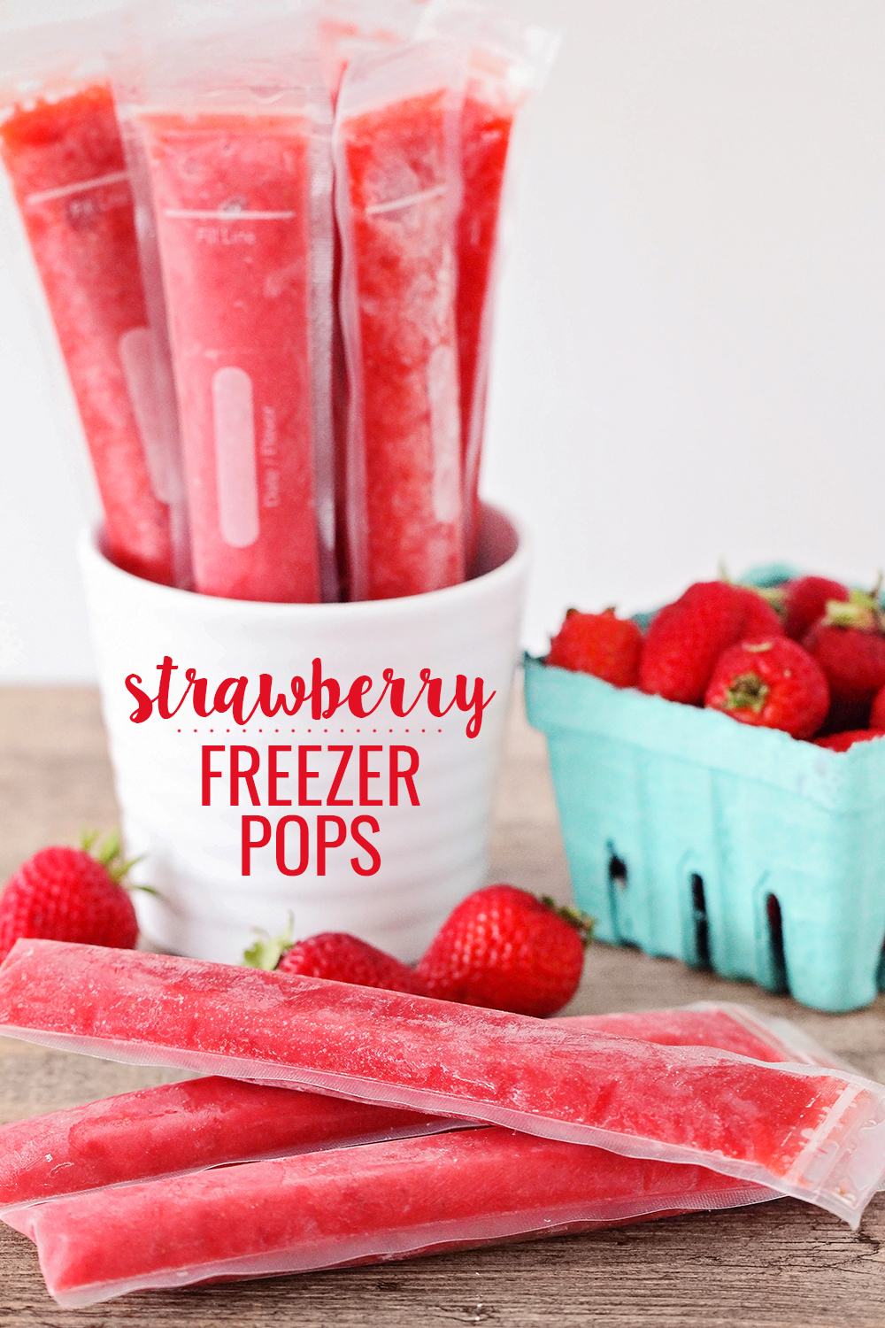These healthy and delicious strawberry freezer pops have only three ingredients, and are full of strawberry flavor. They're so simple to make, and the kids will love them!