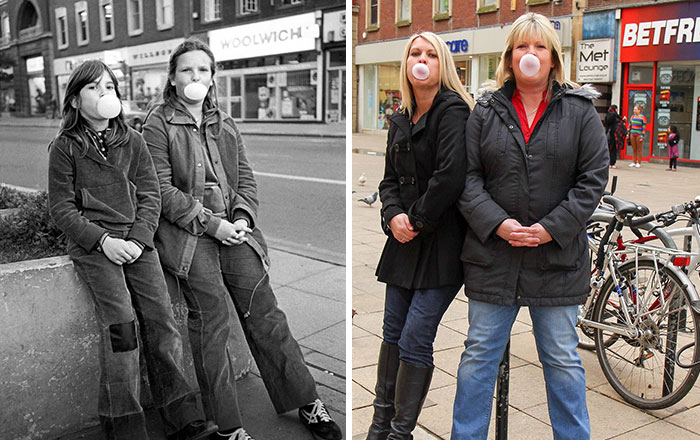 Photographer Recaptures Old Pictures Creating A Beautiful Reunion Of People He Photographed Decades Ago - Double Bubble (1980 And 2012)