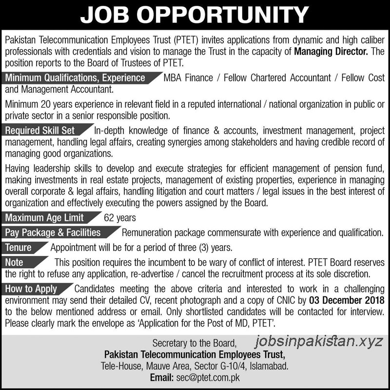 Advertisement for PTET Jobs 2018