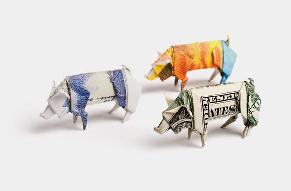money origami - euro dollar bill origami