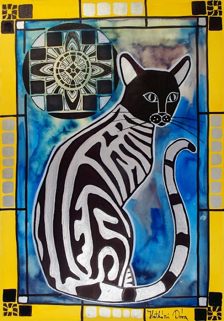 Silver Tabby with Mandala cat painting by Dora Hathazi Mendes