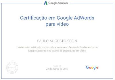Certificado em Adwords para vídeos