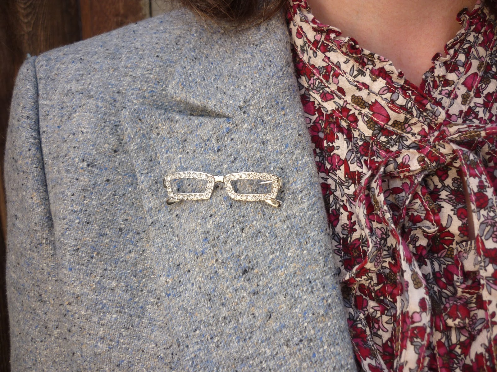 High Collar Blouse, Diamante Spectacles Brooch | Petite Silver Vixen