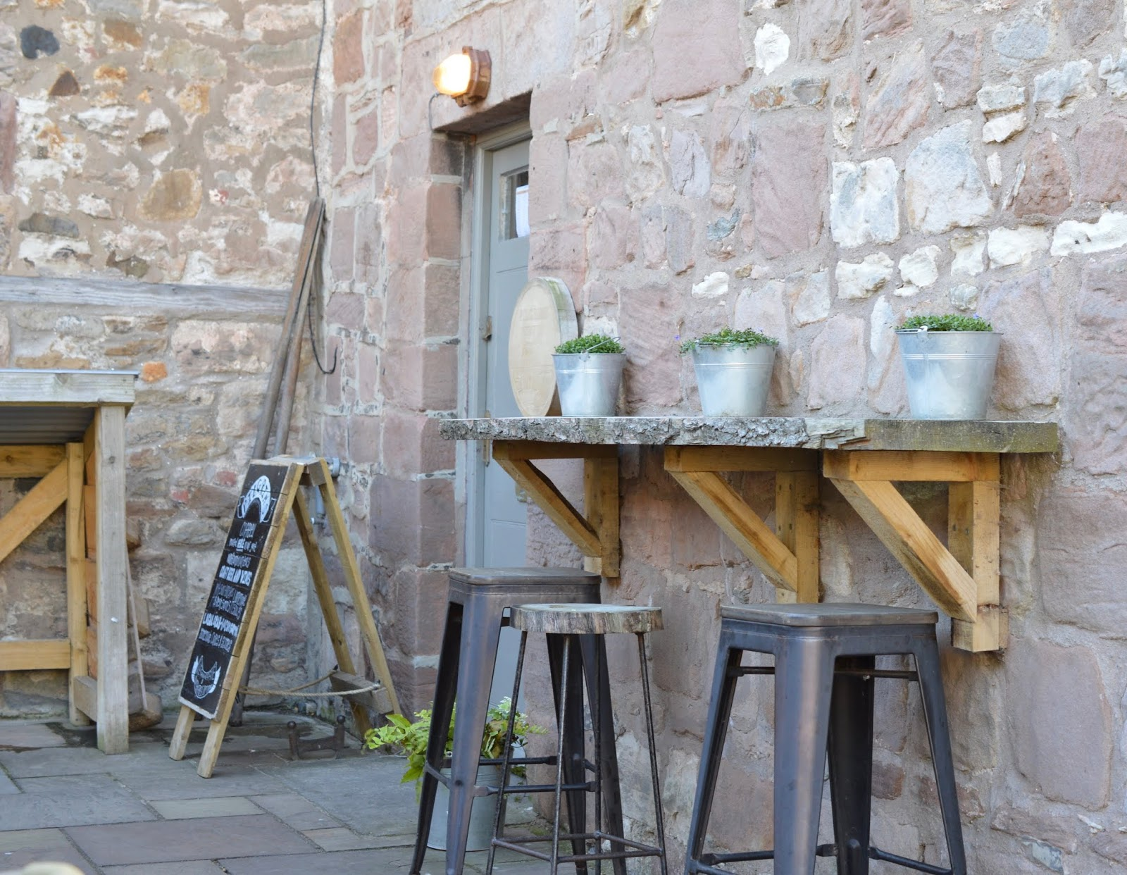 The Holy Island of Lindisfarne, Northumberland - what to see and do during a half day visit - pilgrims coffee outdoor seating