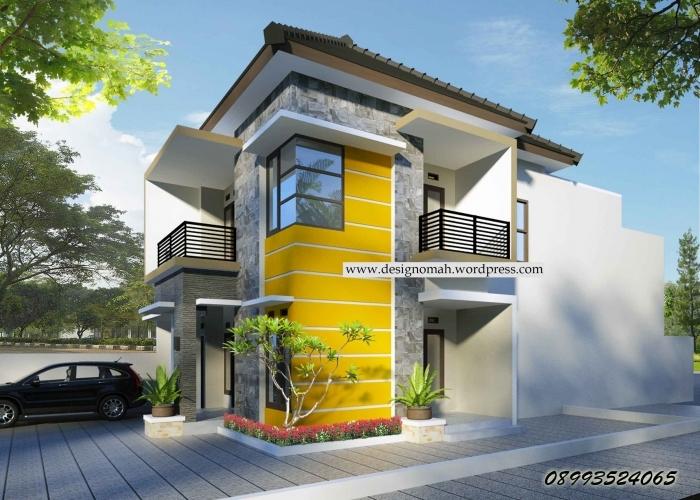rumah minimalis 2 lantai type 70 terbaru tampak depan