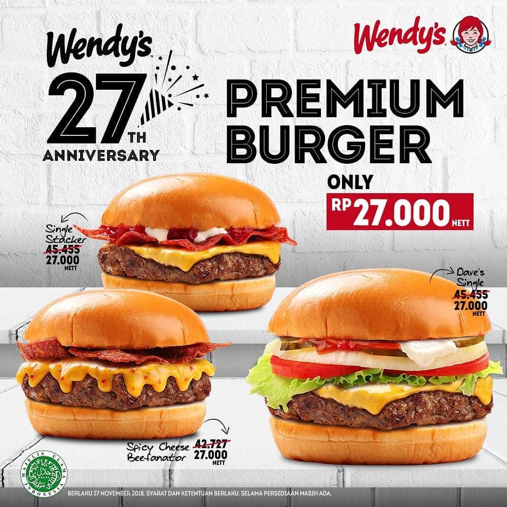 Wendys - Promo Wendy's 27th Anniversary Hanya Rp.27 Ribu ( 27 Nov 2018)