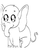 Cute Baby Elephant Printable Kids Coloring Pages