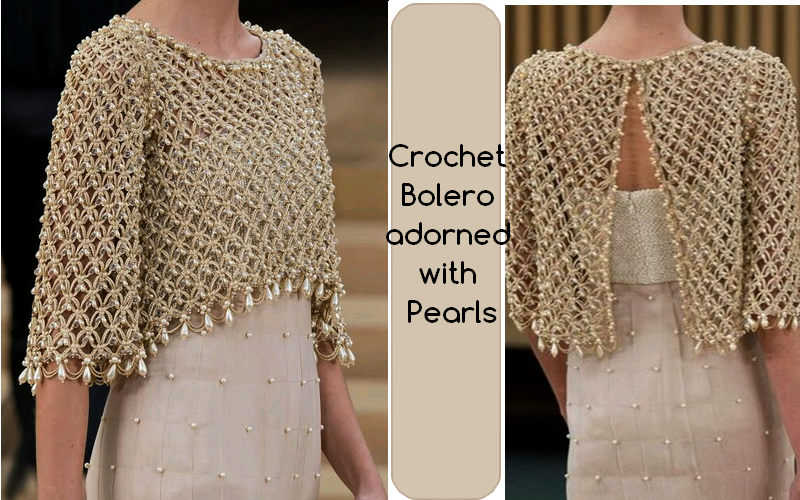 Ergahandmade Crochet Bolero With Pearls Diagrams Pattern Step