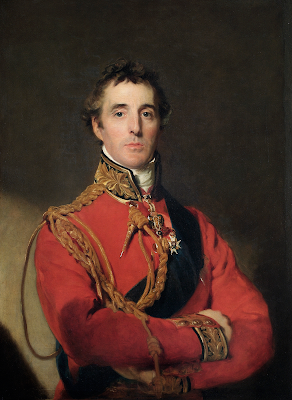 Portrait of the Duke of Wellington, from Wikipedia. The Duke of Wellington is standing at half-length, wearing Field Marshal's uniform, with the Garter star and sash, the badge of the Golden Fleece, and a special badge ordered by the Prince Regent to be worn from 1815 by Knights Grand Cross of the Military Division of the Order of the Bath who were also Knights Companion of the Order of the Garter.