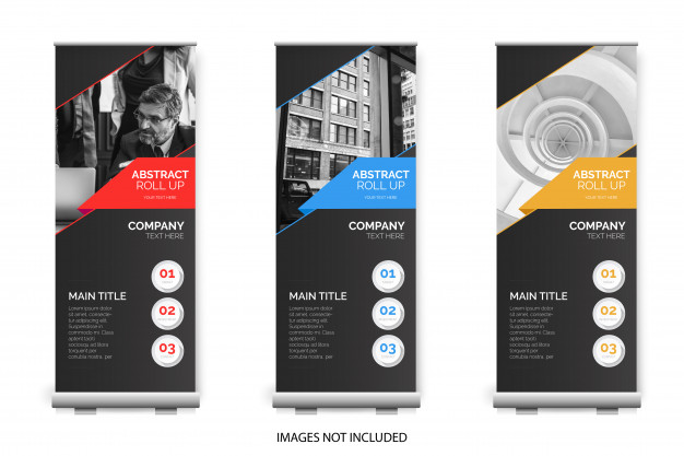 Modern roll up collection Free Vector
