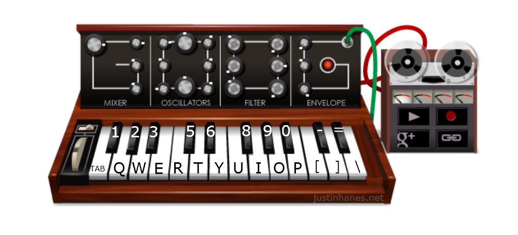 Назначение клавиш в google moog synthesizer