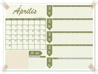 áprilisi letölthető naptár