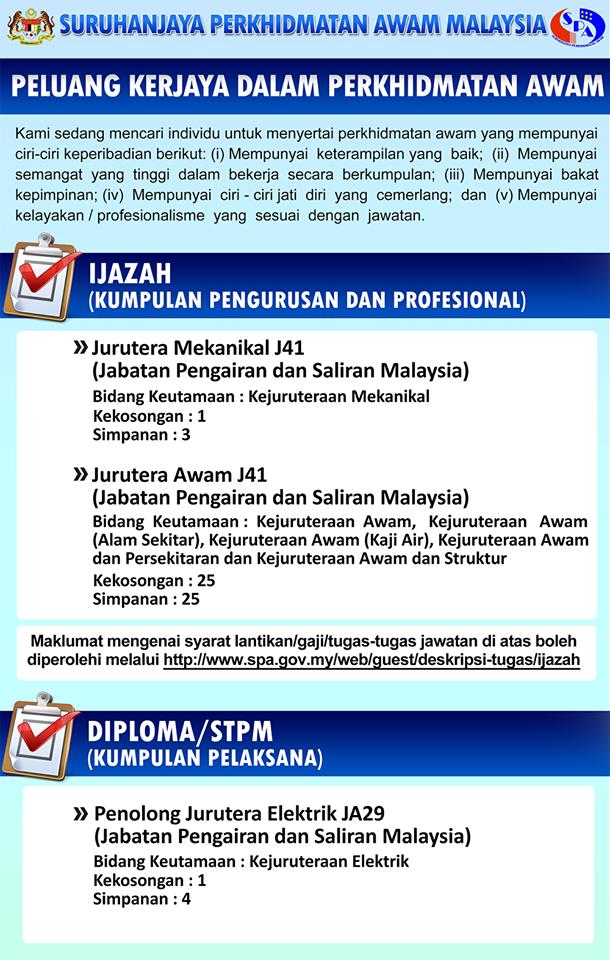 Peluang Kerjaya dalam Perkhidmatan Awam Malaysia (Jabatan Pengairan dan Saliran Malaysia) - 27 November 2018