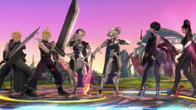 Super Smash Bros. Final Direct Cloud Corrin Bayonetta group shot